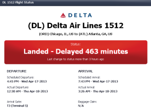 DL 1512 Landed 463 Min Delay
